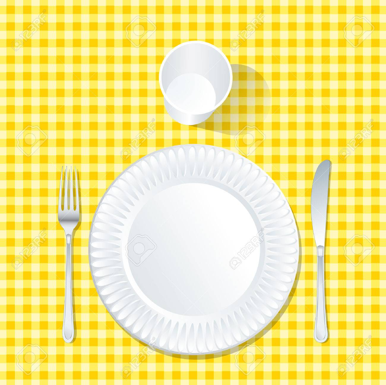Vector   Vector Paper Plate On Yellow Tablecloth