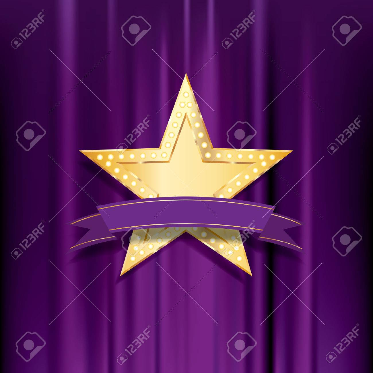 golden star with bulb lamps and blank purple banner Stock Vector - 24021857