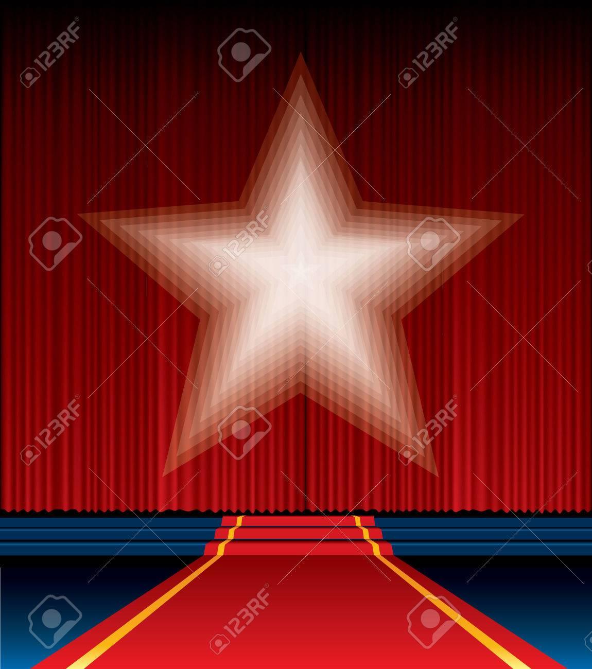 Red curtain spotlight - Vector Red Curtain With Blurry Spotlight Star Stock Vector 24230800