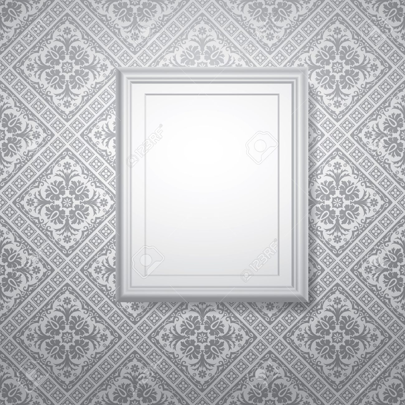 Vector White Frame On Gray Baroque Wallpaper Royalty Free Cliparts ...