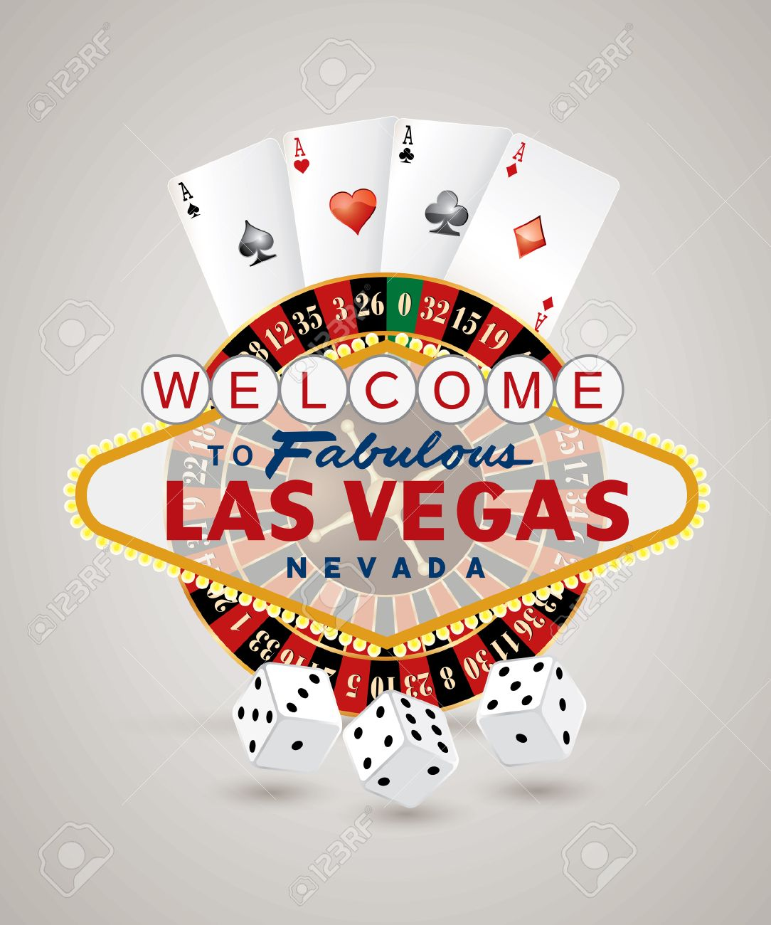Traditional european roulette table vector illustration stock vector - American Roulette Vector American Roulette Wheel With Las Vegas Sign Playing Cards And Dice