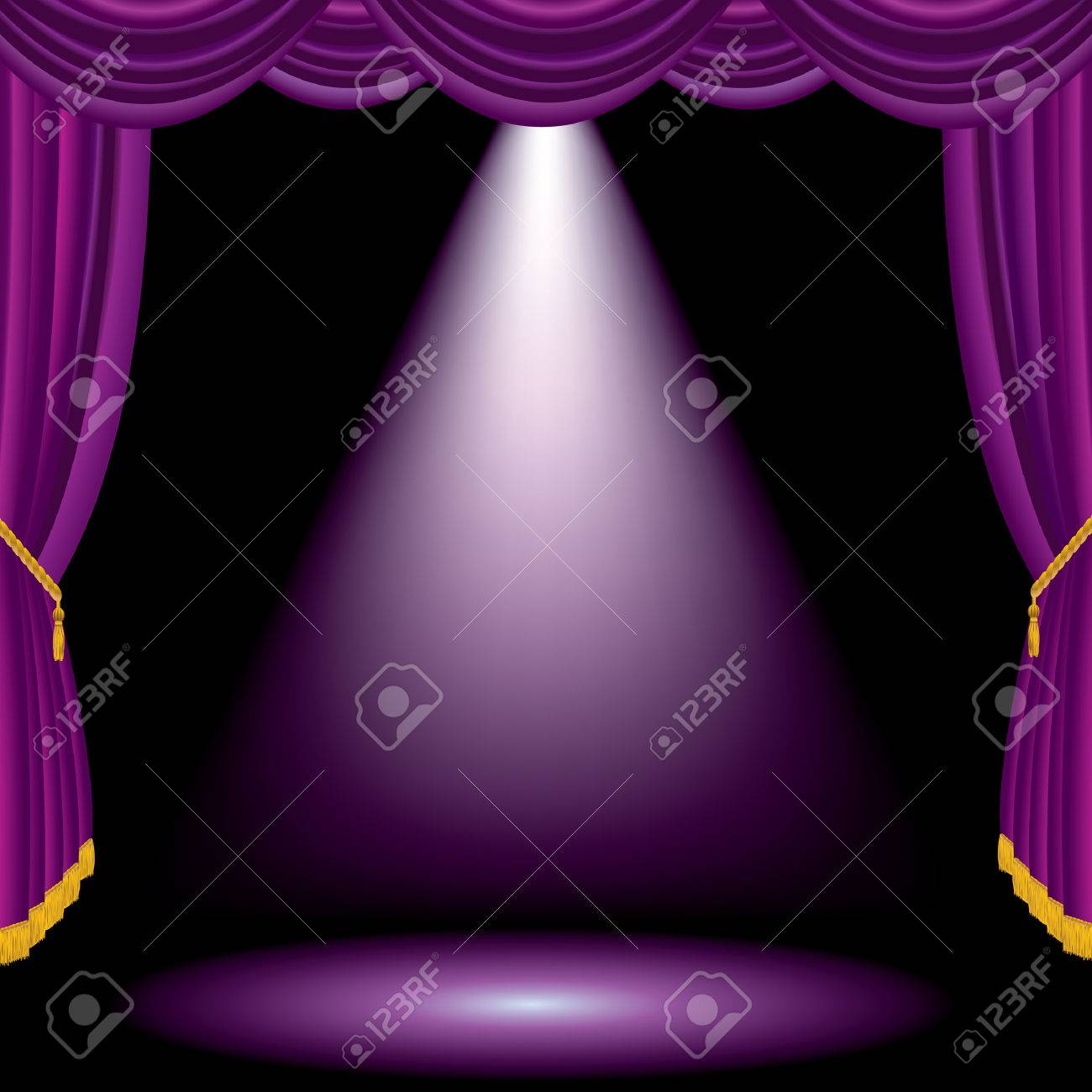 vector purple stage with one spot light - 27531677