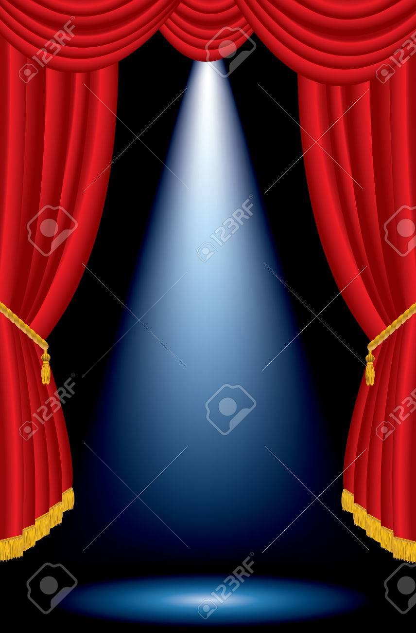 vector one blue spot on stage with red curtain - 27320631