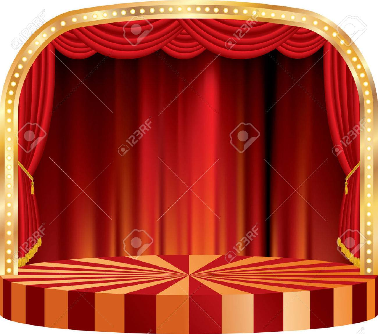 vector rounded stage with red curtain - 27539615