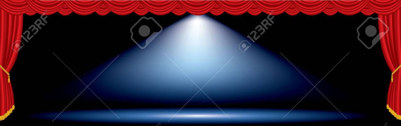 vector one blue spot on red wide stage - 27537259