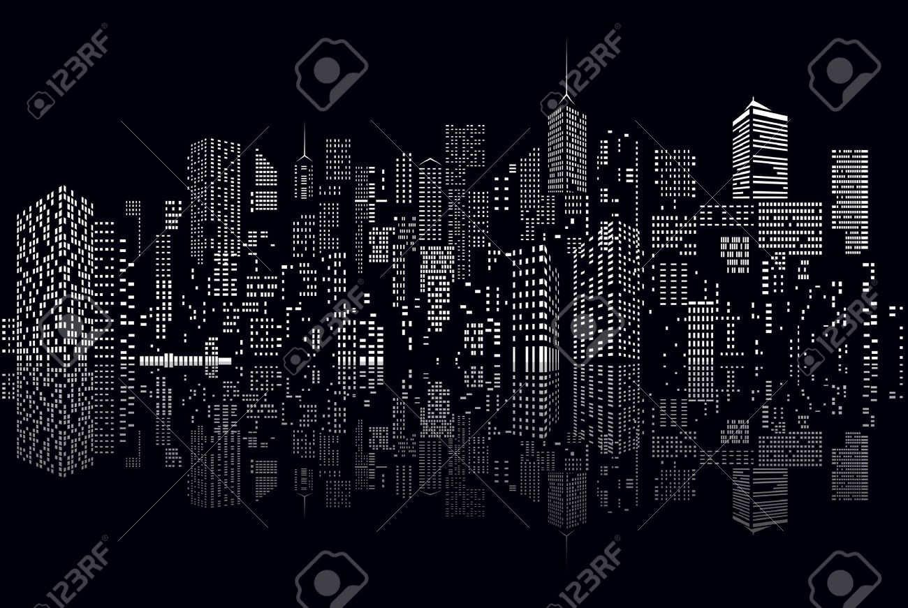 windows on abstract city skylines in black and white royalty free