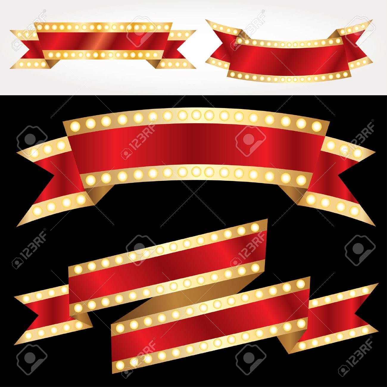 set of vector red show banners with bulb lamps - 30220459