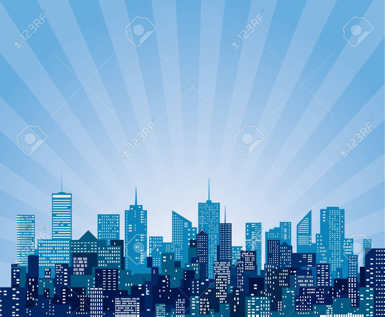 vector abstract cityscape with sun burst - 30608780