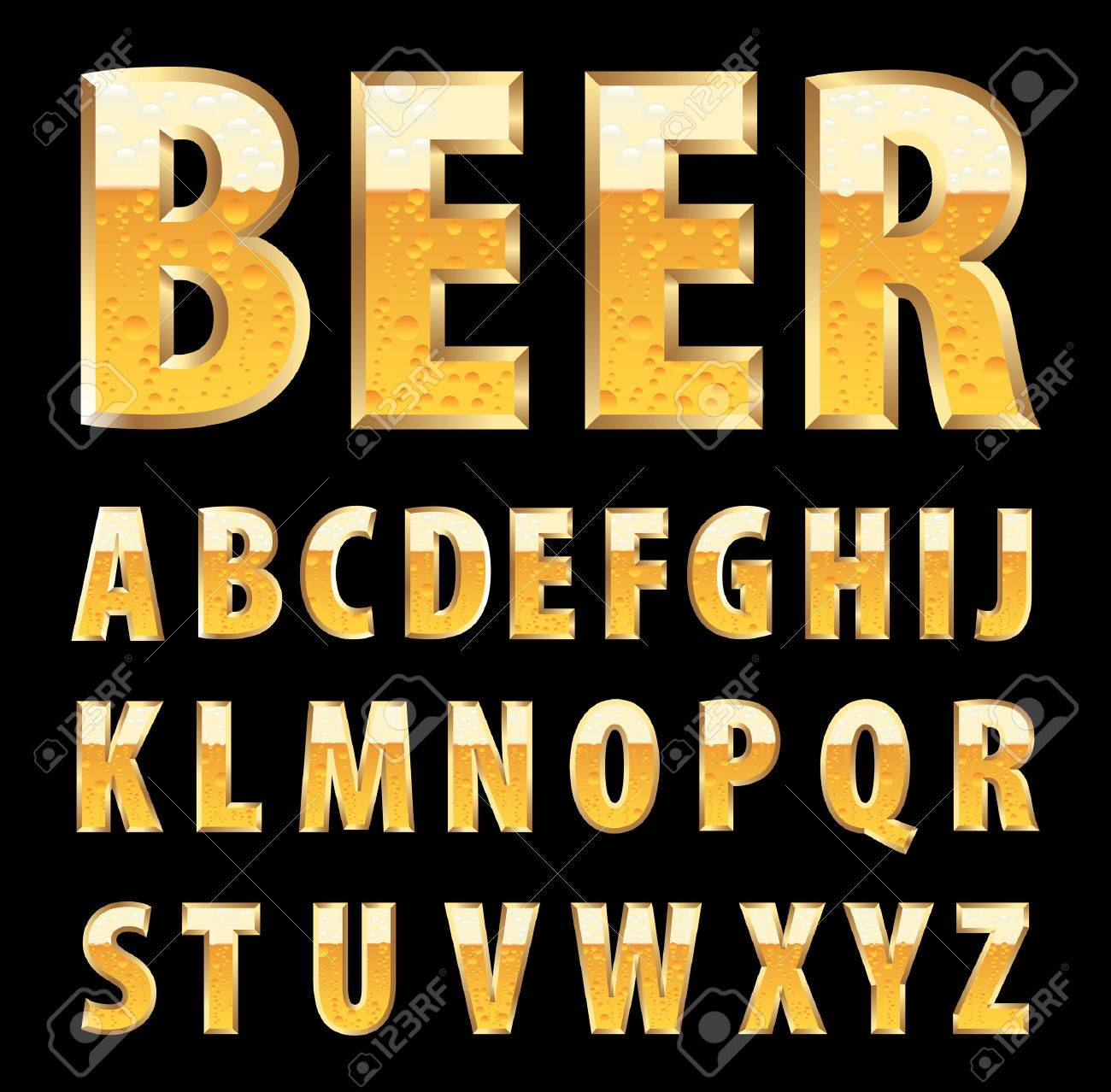golden letters with beer texture - 30745102