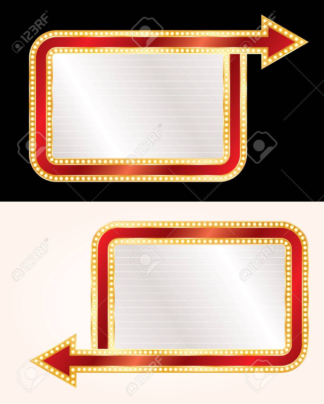 blank billboards with arrows and bulb lamps - 32605478