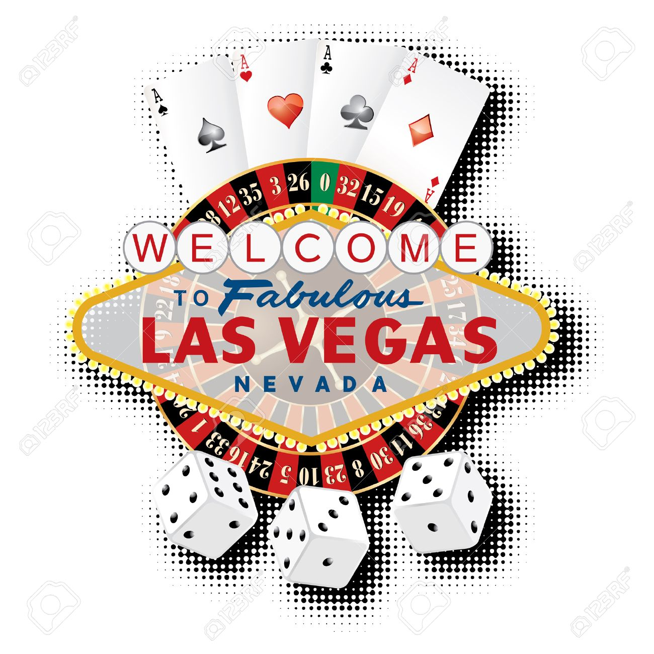 vector american roulette wheel with Las Vegas sign, playing cards and dice - 32825772