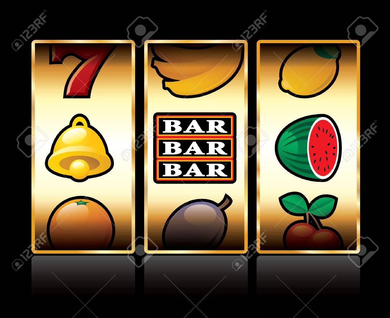 vector icons at slot machine - 33021658