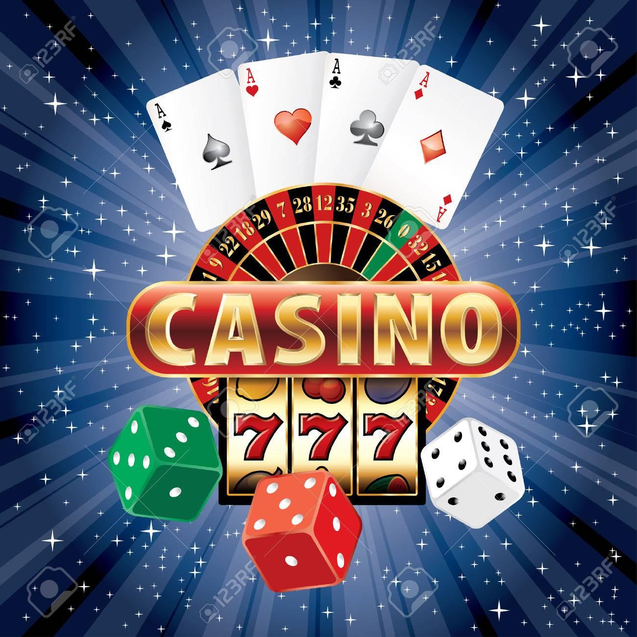 gambling casino elements on blue starry night - 33047171
