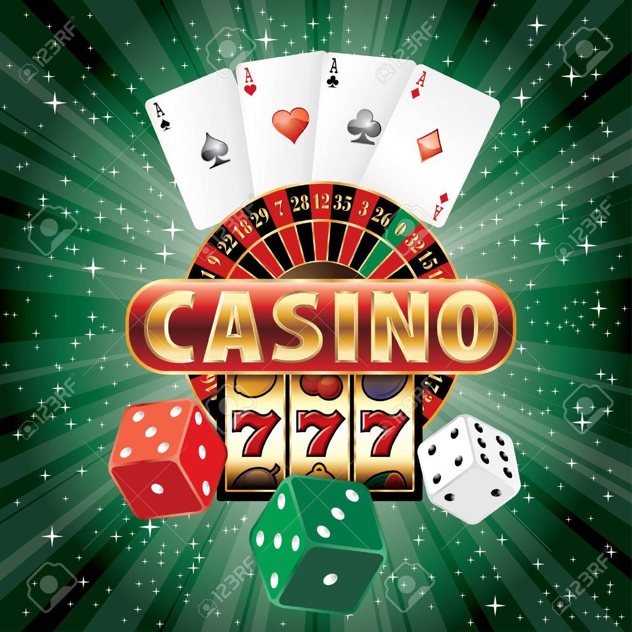 vector gambling casino elements on green starburst - 33788730