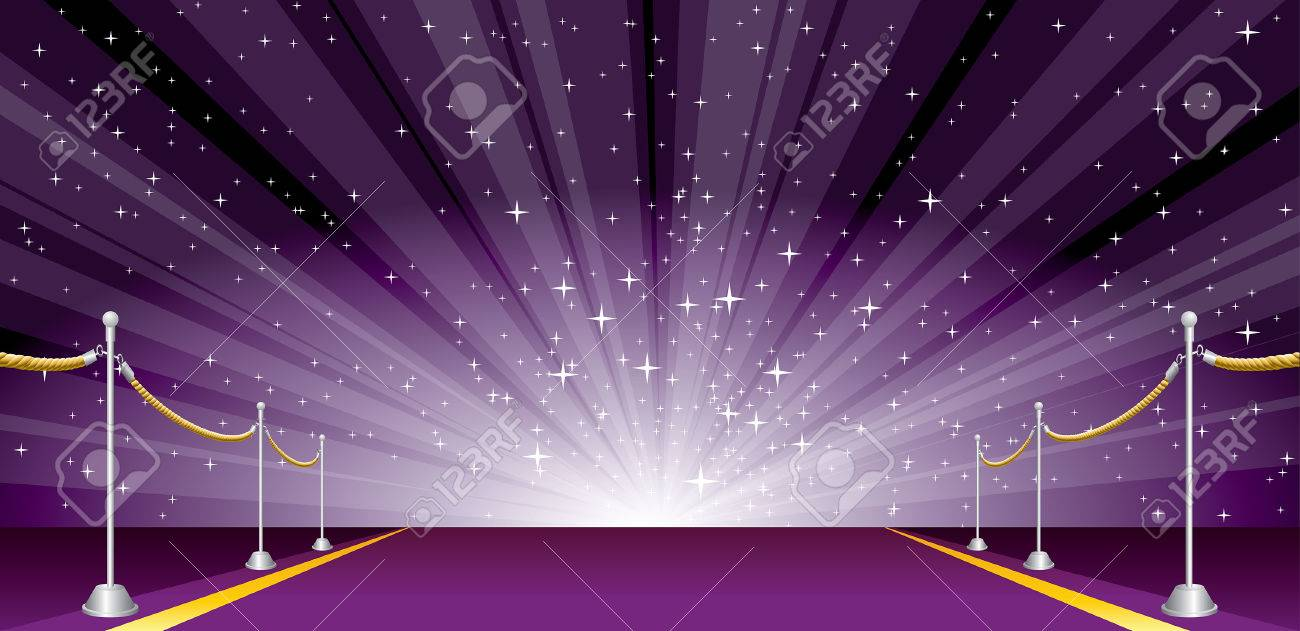 vector illustration with purple carpet and star burst - 34197429