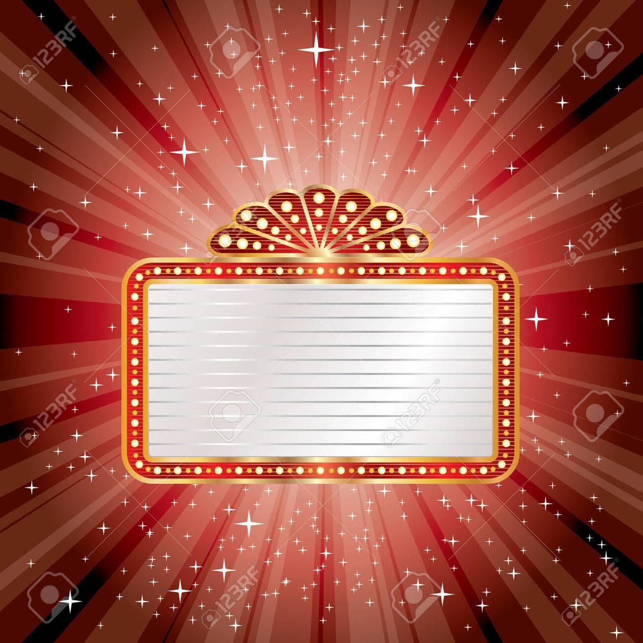vector red starburst with blank billboard - 34197431