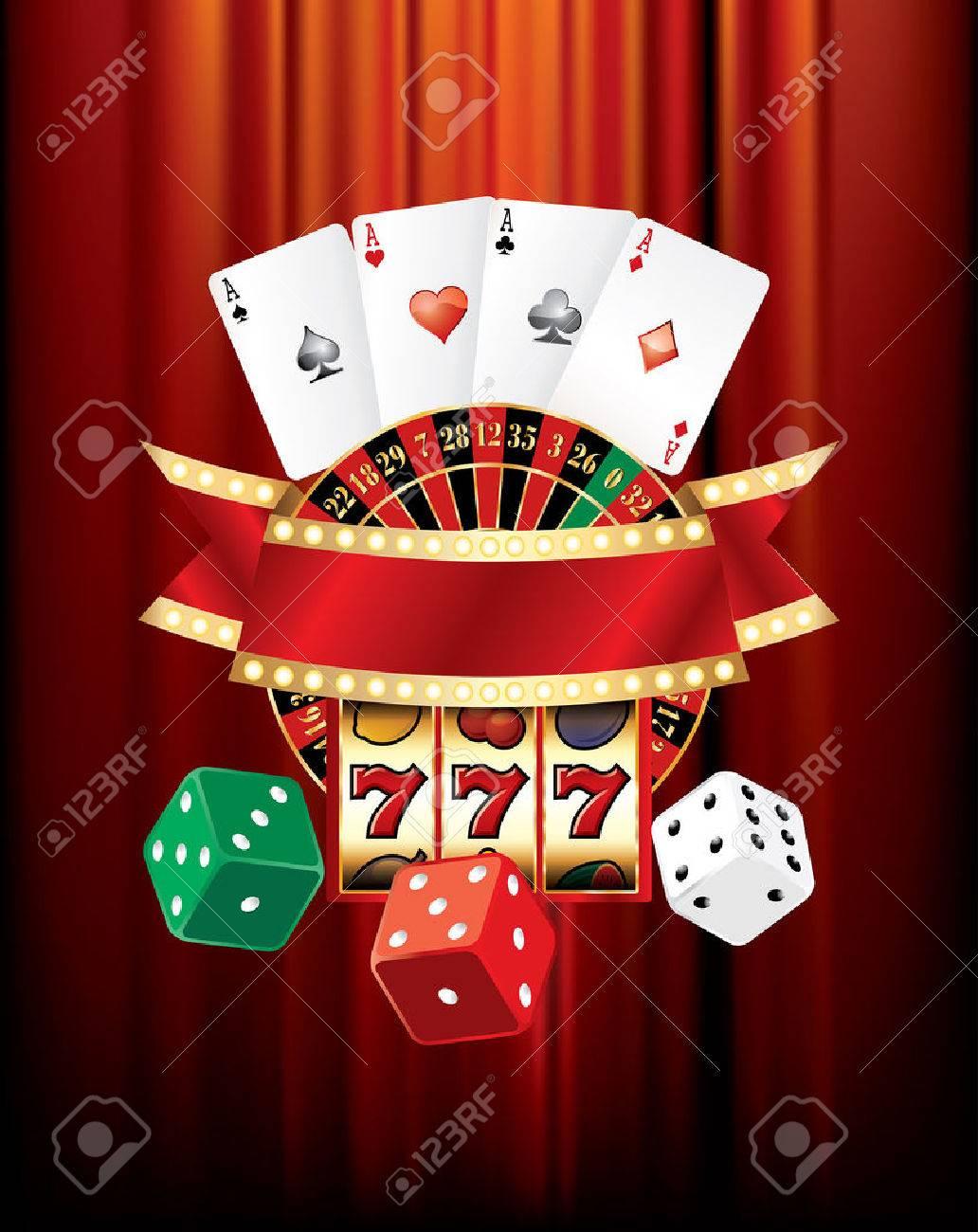 vector gambling casino elements on red velvet - 34197441