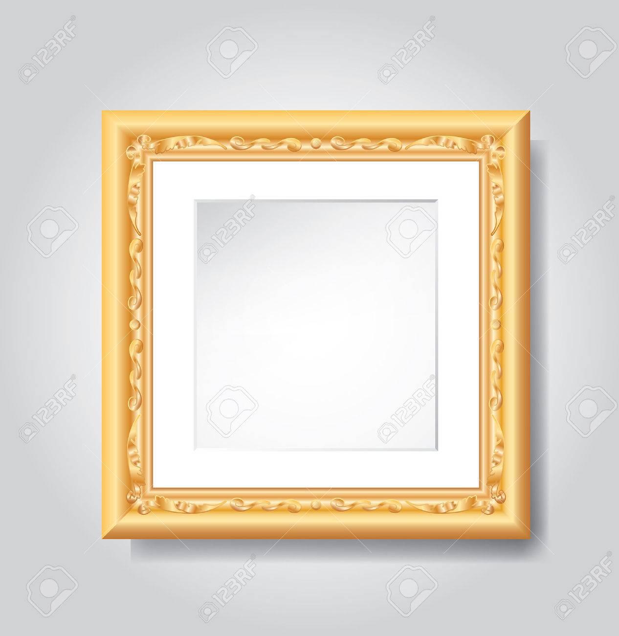 vector vintage golden frame on white wall - 34659909
