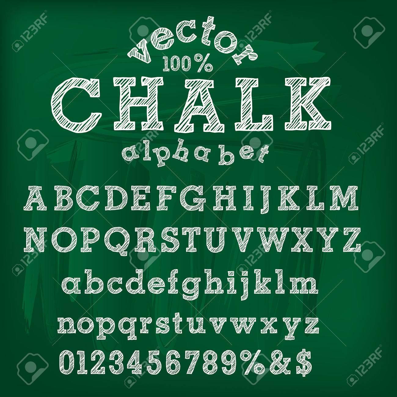 vector hand drawn chalk alphabet - 36005768