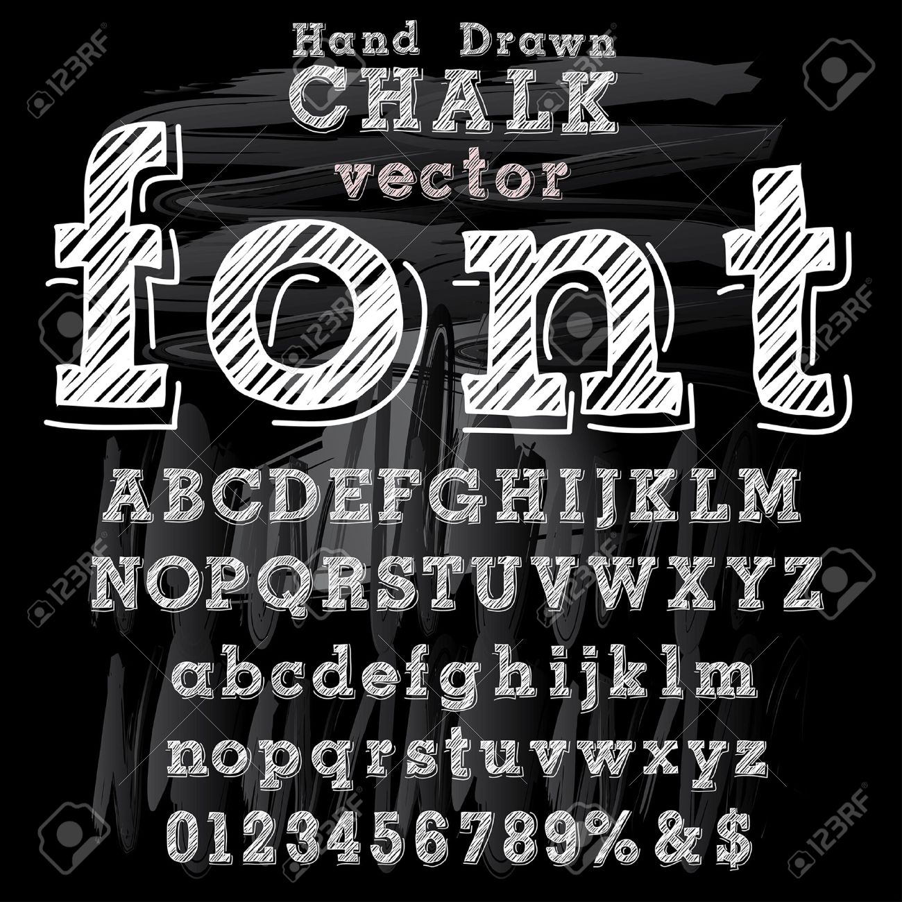 hand drawn font with chalk on blackboard stock vector 36091764