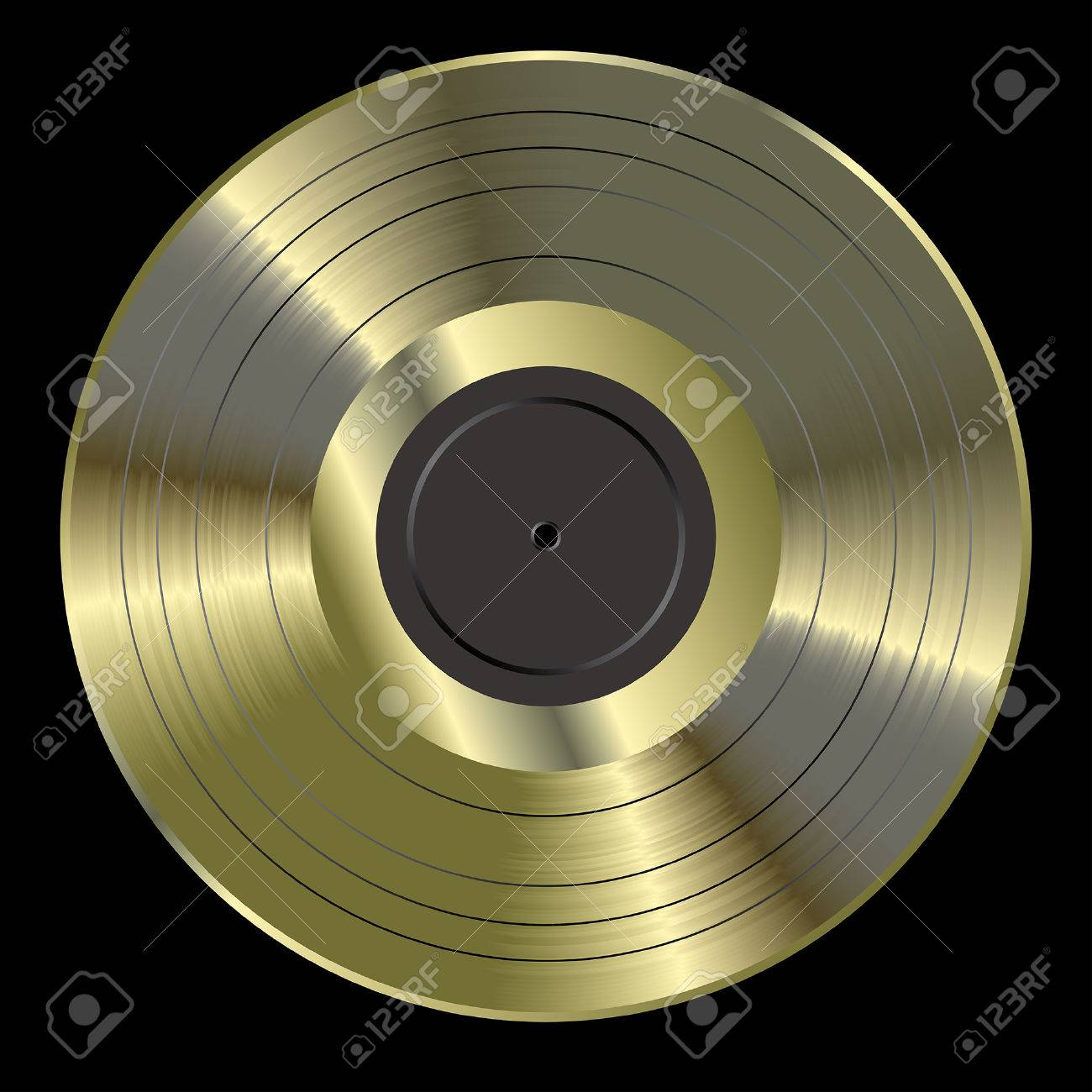 vector realistic illustration of the blank golden LP - 37633898