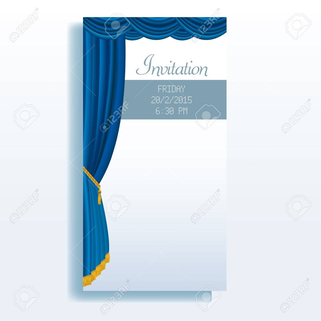 Theater curtains download free vector art stock graphics amp images - Vector Vector Layout Of Invitation Card With Blue Stage Curtain