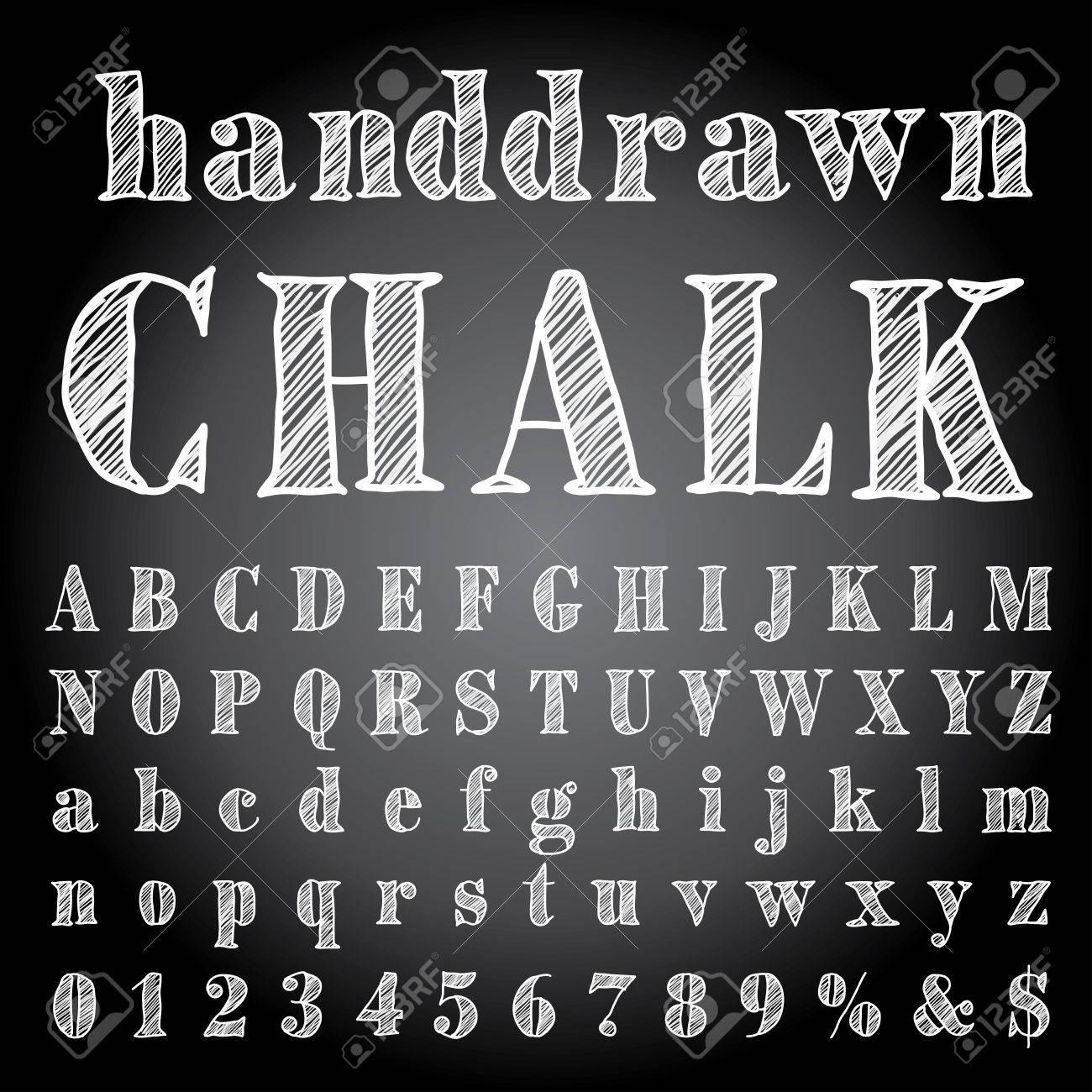hand drawn chalk alphabet - 39308503