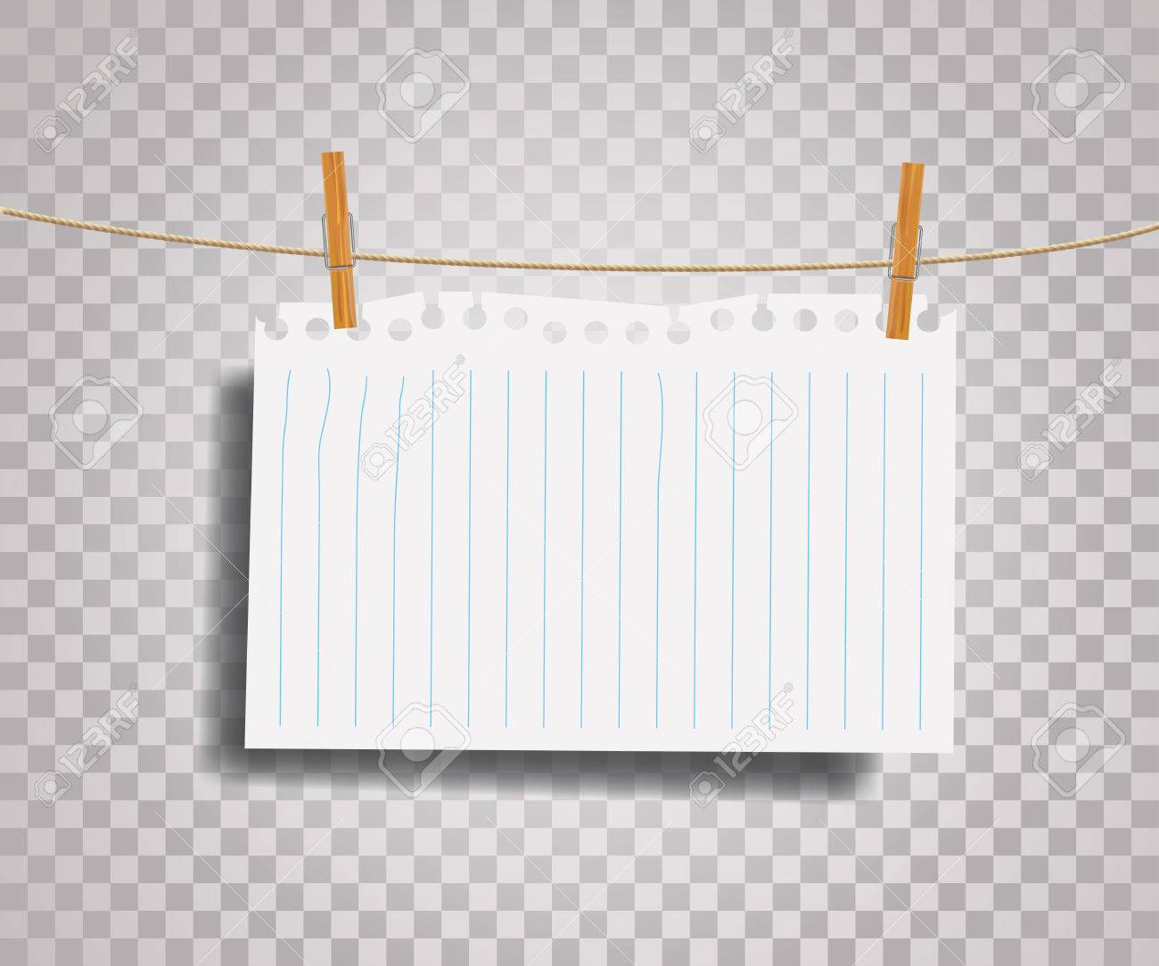 vector blank ripped notebook paper on rope royalty free cliparts