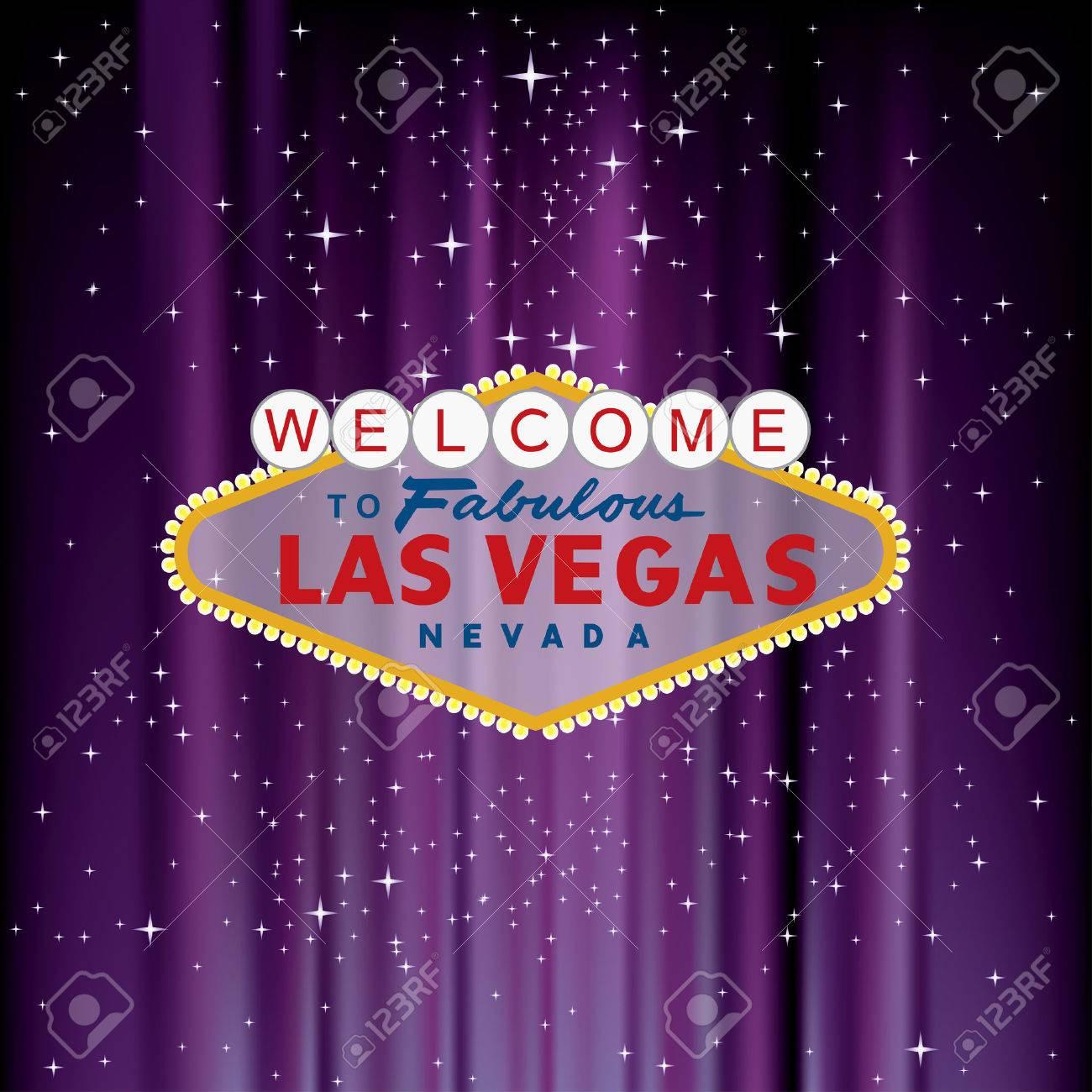 Las Vegas sign on purple velvet with stars - 43737778