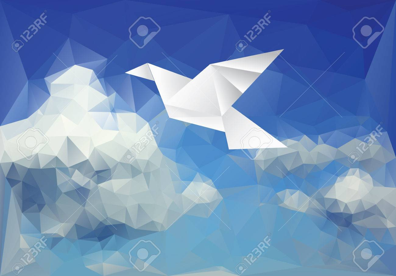 vector ilustration with paper bird on paper sky - 45014687