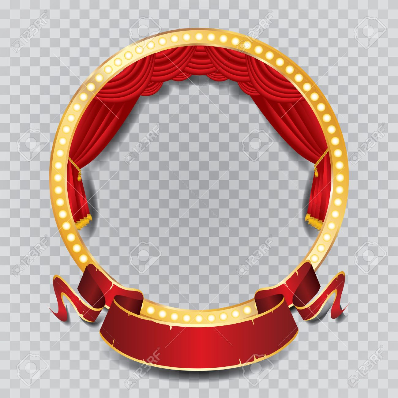 vector circle stage with red curtain, golden frame, bulb lamps and transparent shadow - 45578277