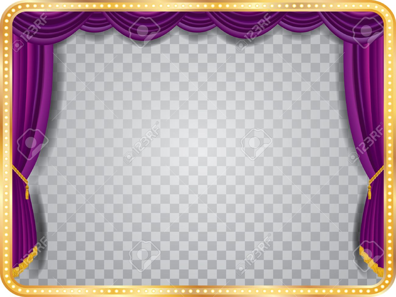 Gold stage curtain - Theater Curtain Vector Stage With Purple Curtain Golden Frame Bulb Lamps And Transparent