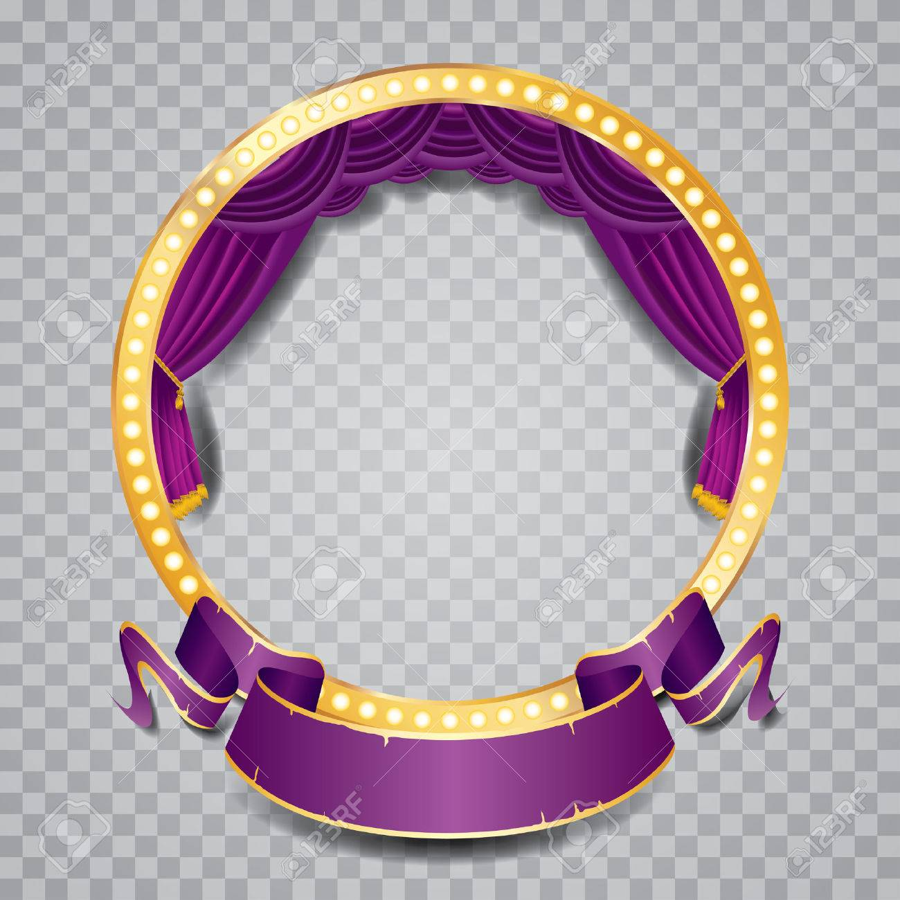 vector circle stage with purple curtain, golden frame, bulb lamps and transparent shadow - 45793606