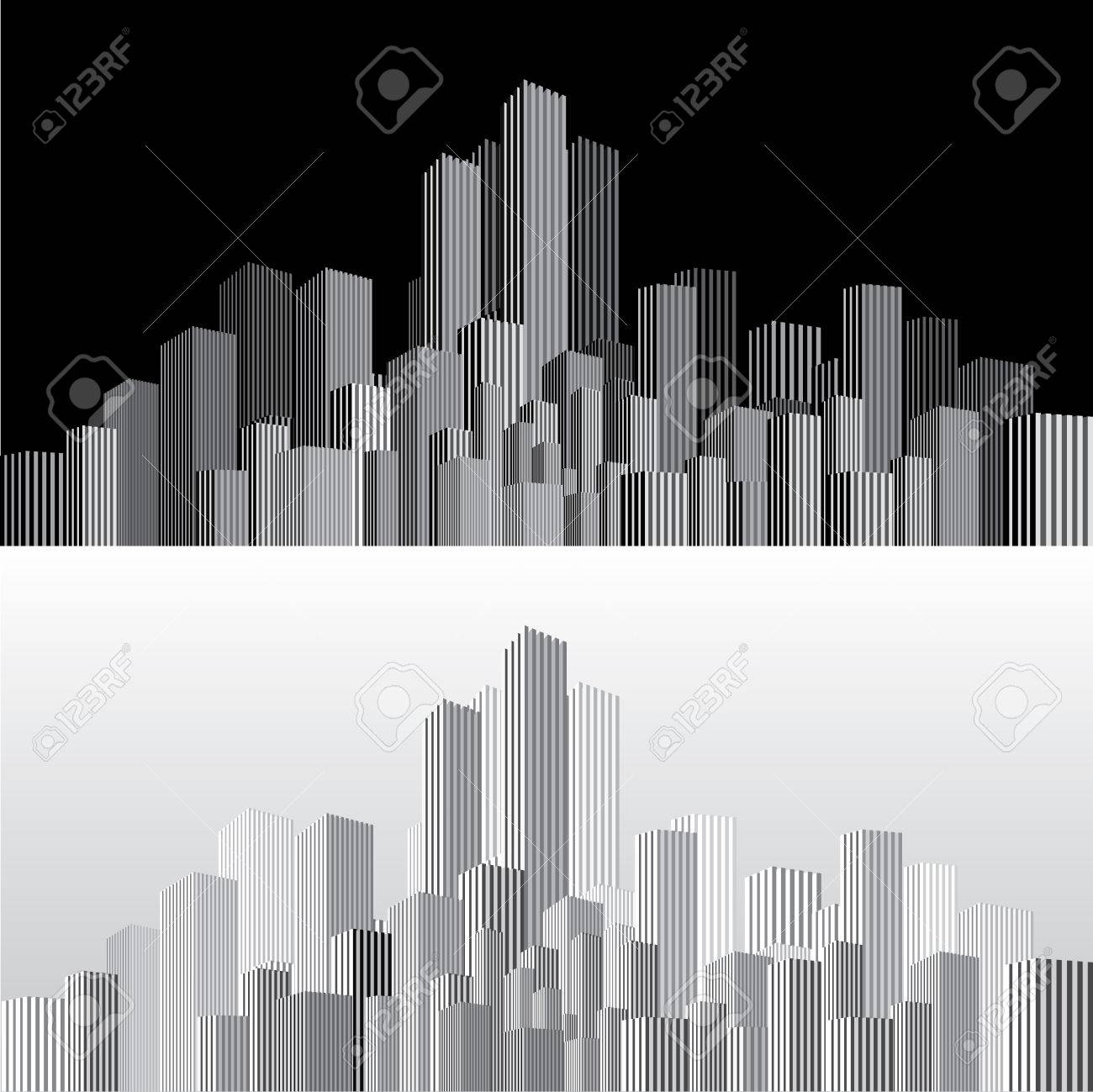 vector abstract cityscape with vertical strips in two variations - 52083645