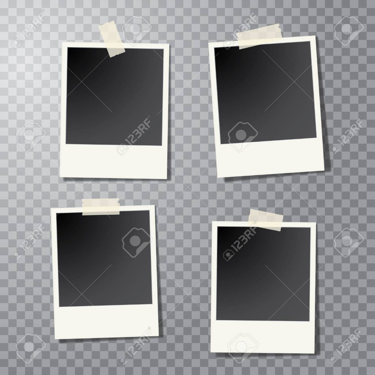 four taped vintage photo frames with transparent shadow - 59589516