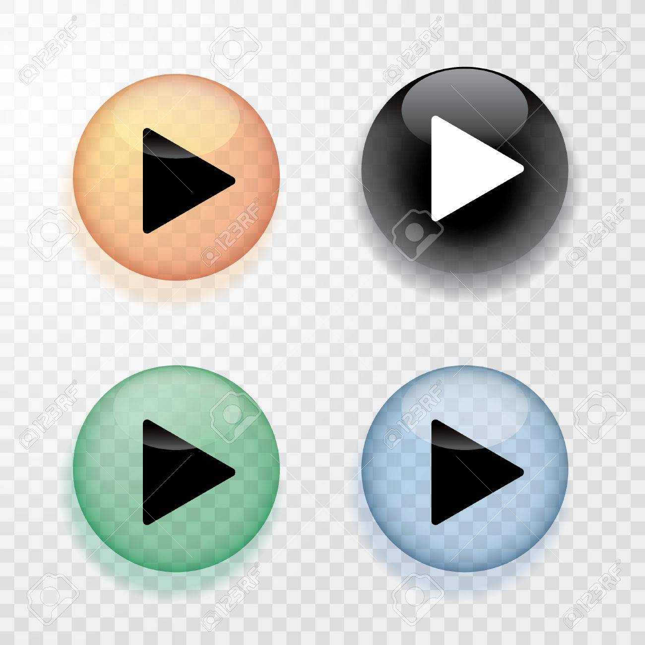 collection of four transparent play buttons with shadow - 64522006