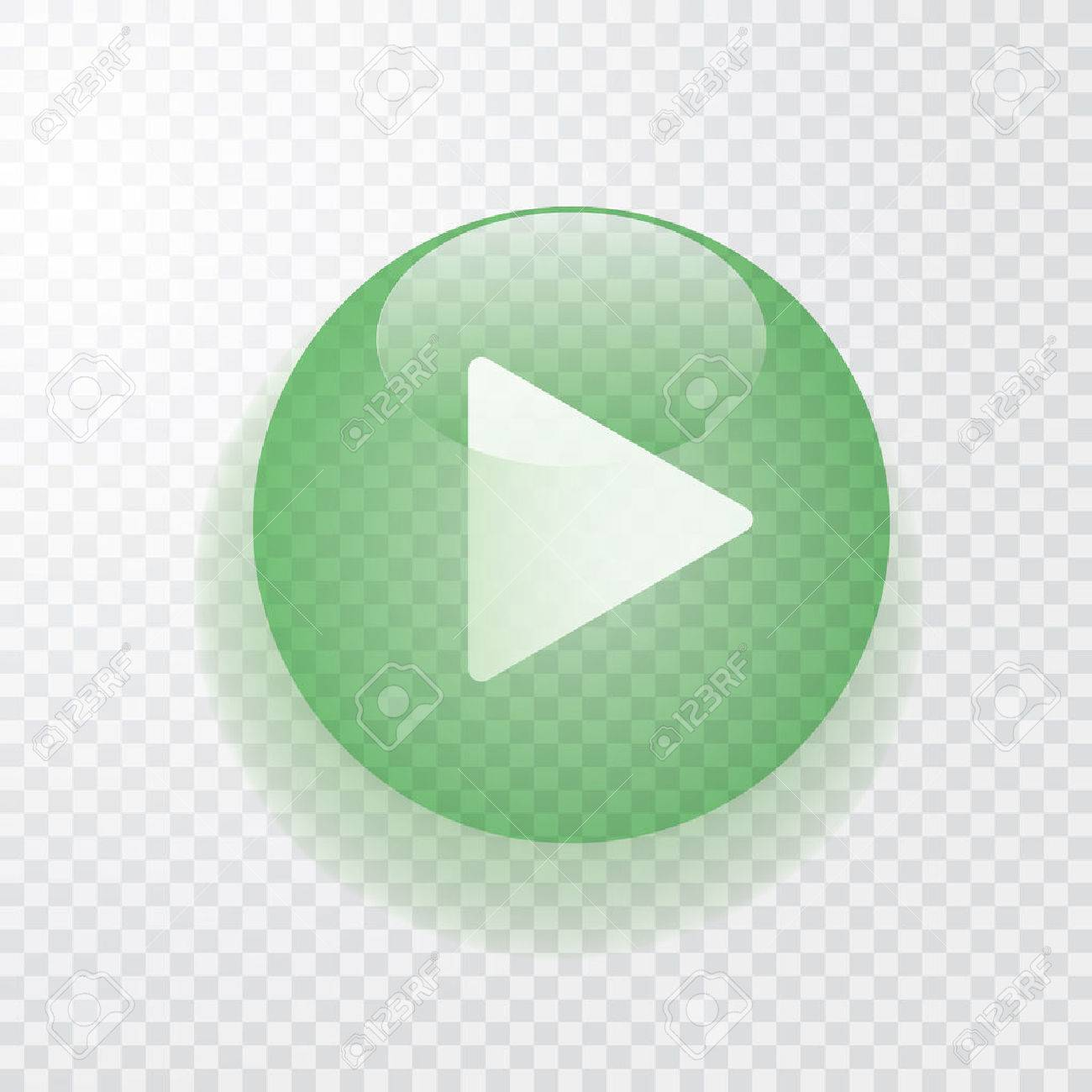 green transparent play button with shadow, icon - 64522016