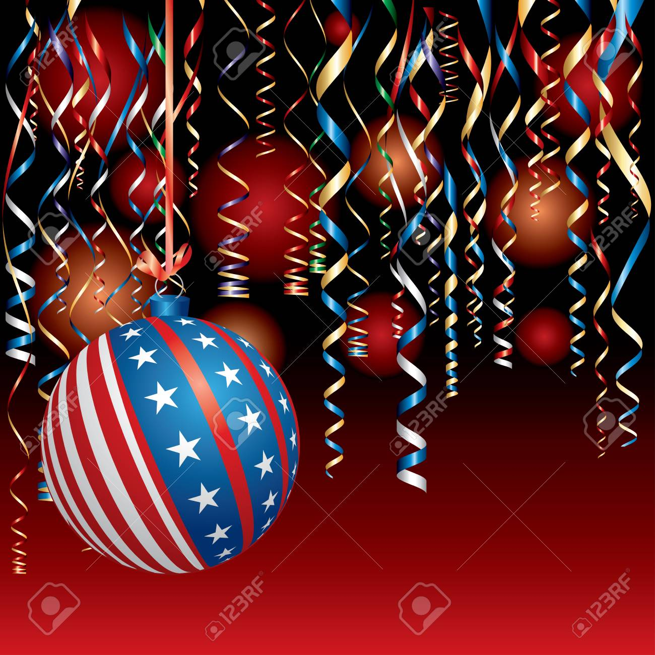 Patriotic Christmas Background.Illustration With Usa Christmas Ball Patriotic Background