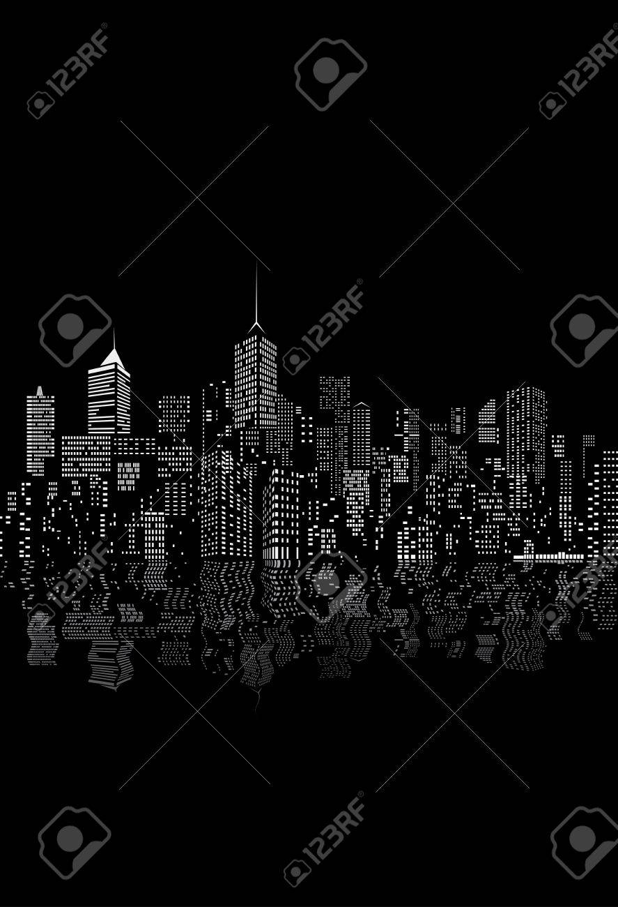 windows on abstract city skylines in black and white with reflection