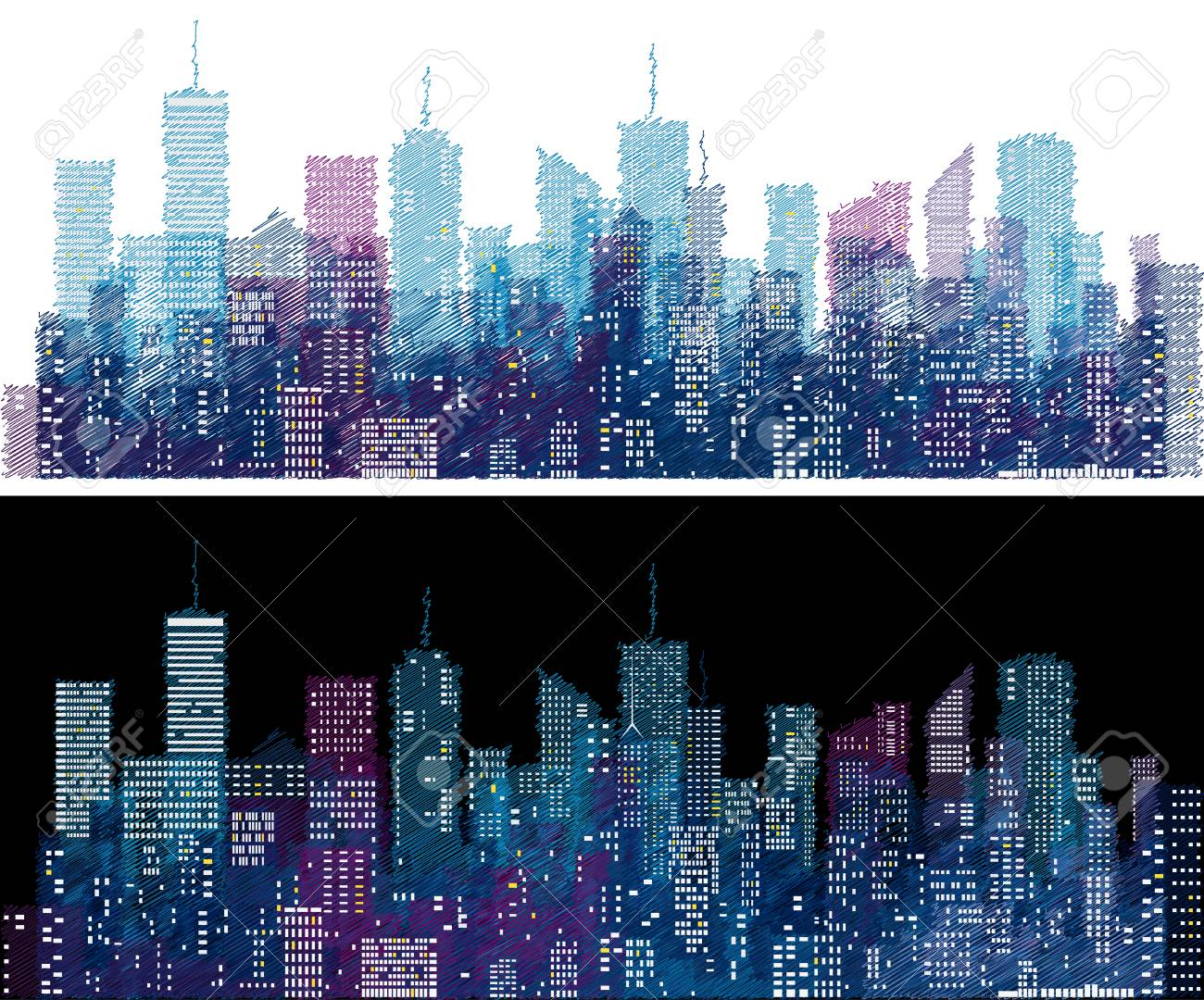 white windows on hand drawn city skylines blue color doodle