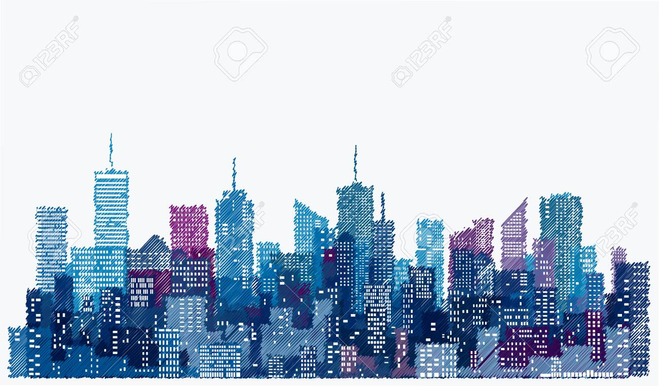 white windows on hand drawn city skylines, blue color cityscape background, editable and layered - 75190387