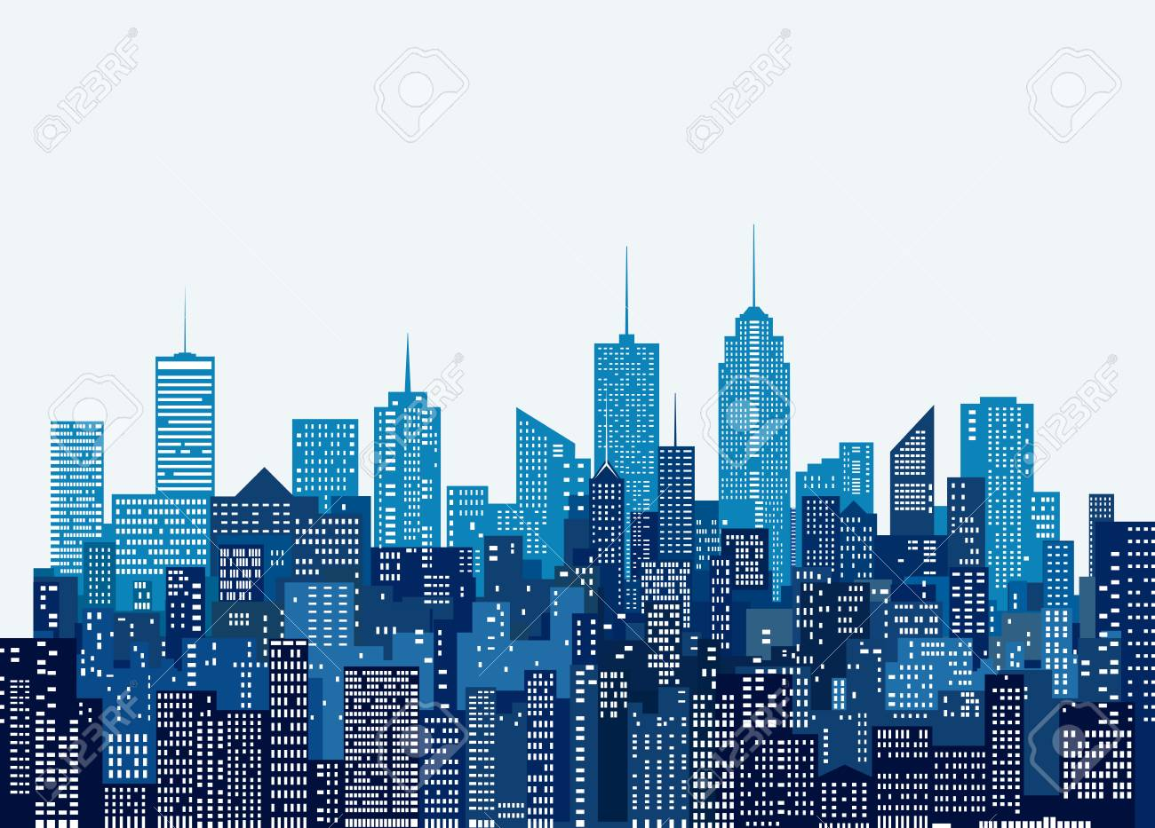 white windows abstract city skylines, blue color cityscape background, editable and layered - 86002951