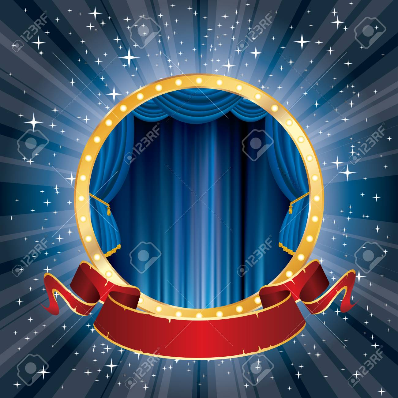 Vector Circle Stage With Blue Curtain, Golden Frame, Bulb Lamps ...