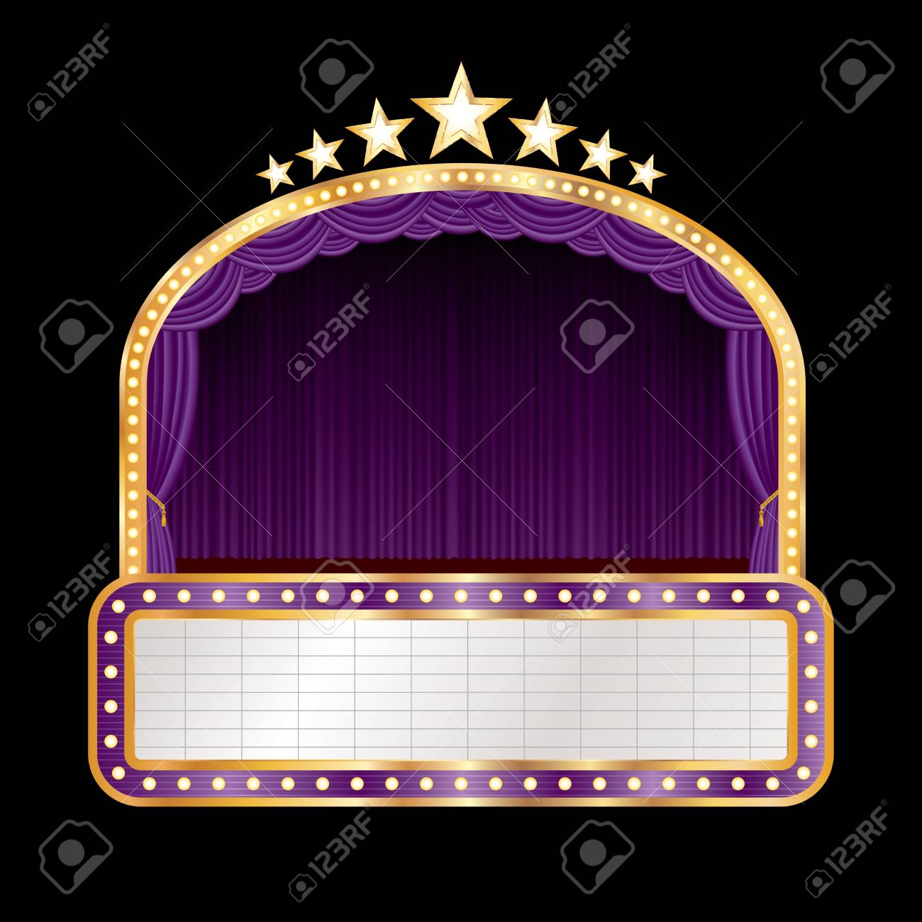 Stage With Purple Curtain, Golden Frame, Bulb Lamps And Blank ...