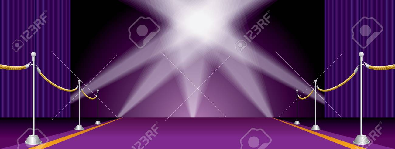 Vector Illustration With Purple Carpet And Curtain, Layered And ...
