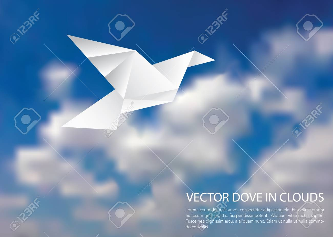 paper dove in cloudy sky vector template royalty free cliparts