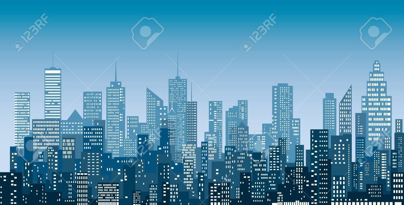 White windows abstract city skylines, blue color cityscape background, editable and layered. - 98926692