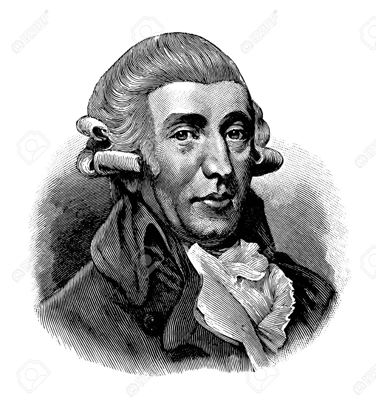 vectorized old engraving of Joseph Haydn, engraving is from Meyers Lexicon published 1914 - 117162921