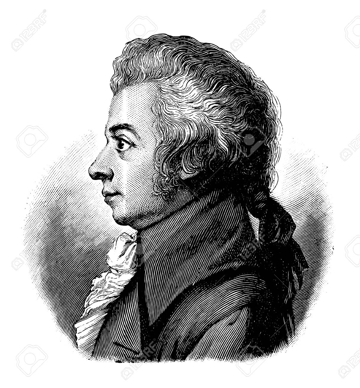 vectorized old engraving of Wolfgang Amadeus Mozart, engraving is from Meyers Lexicon published 1914 - 117162960