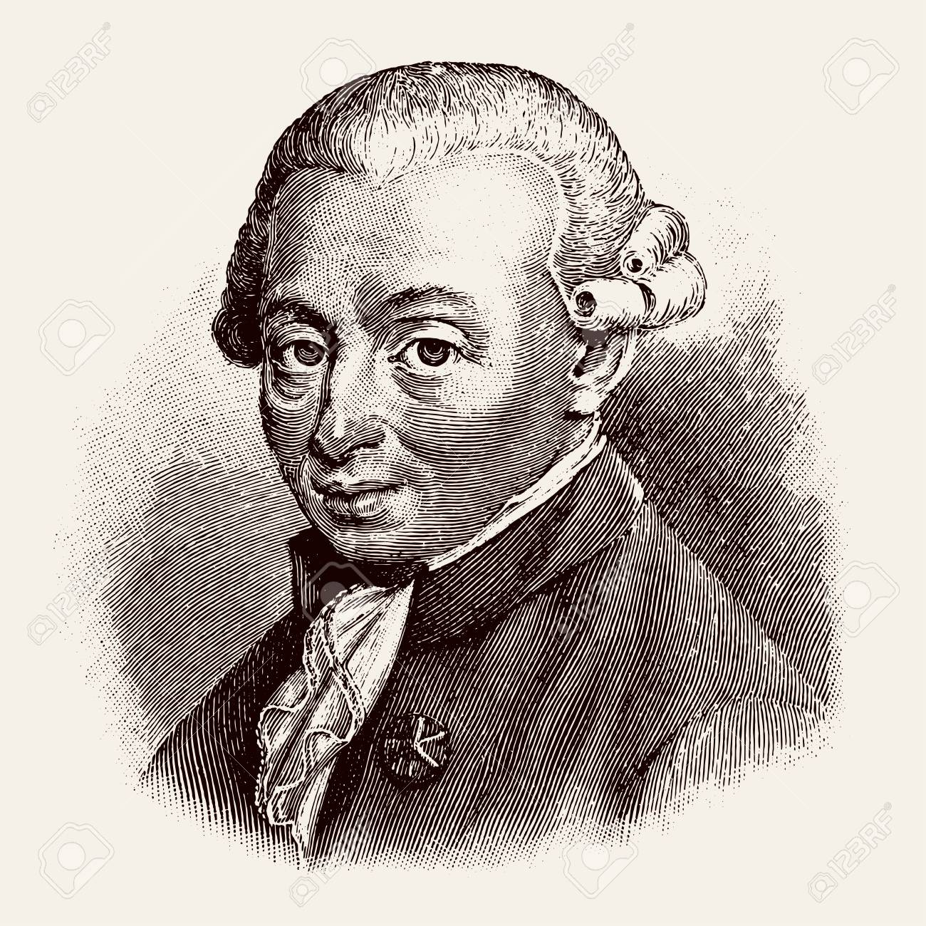 vectorized old engraving of Immanuel Kant, engraving is from Meyers Lexicon published 1914 - Leipzig, Deutschland - 125016618